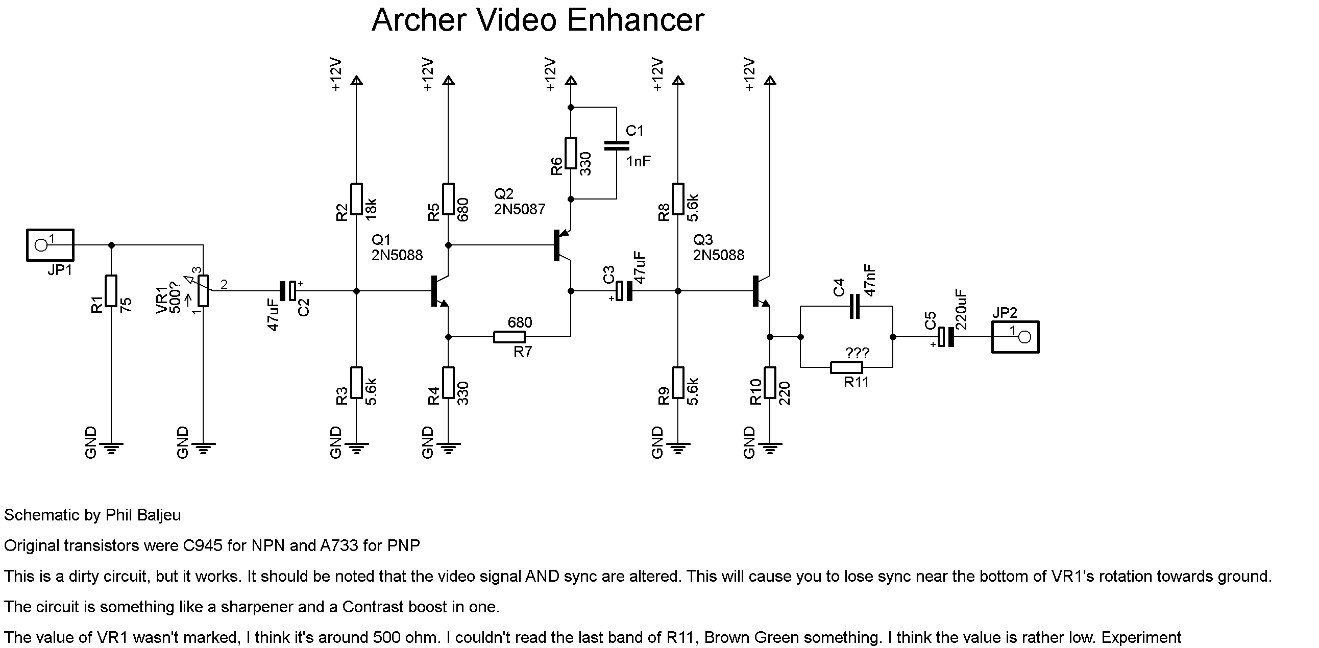 View Topic Archer Video Enhancer Schematic Music Related Schematics Also See Audio Ave