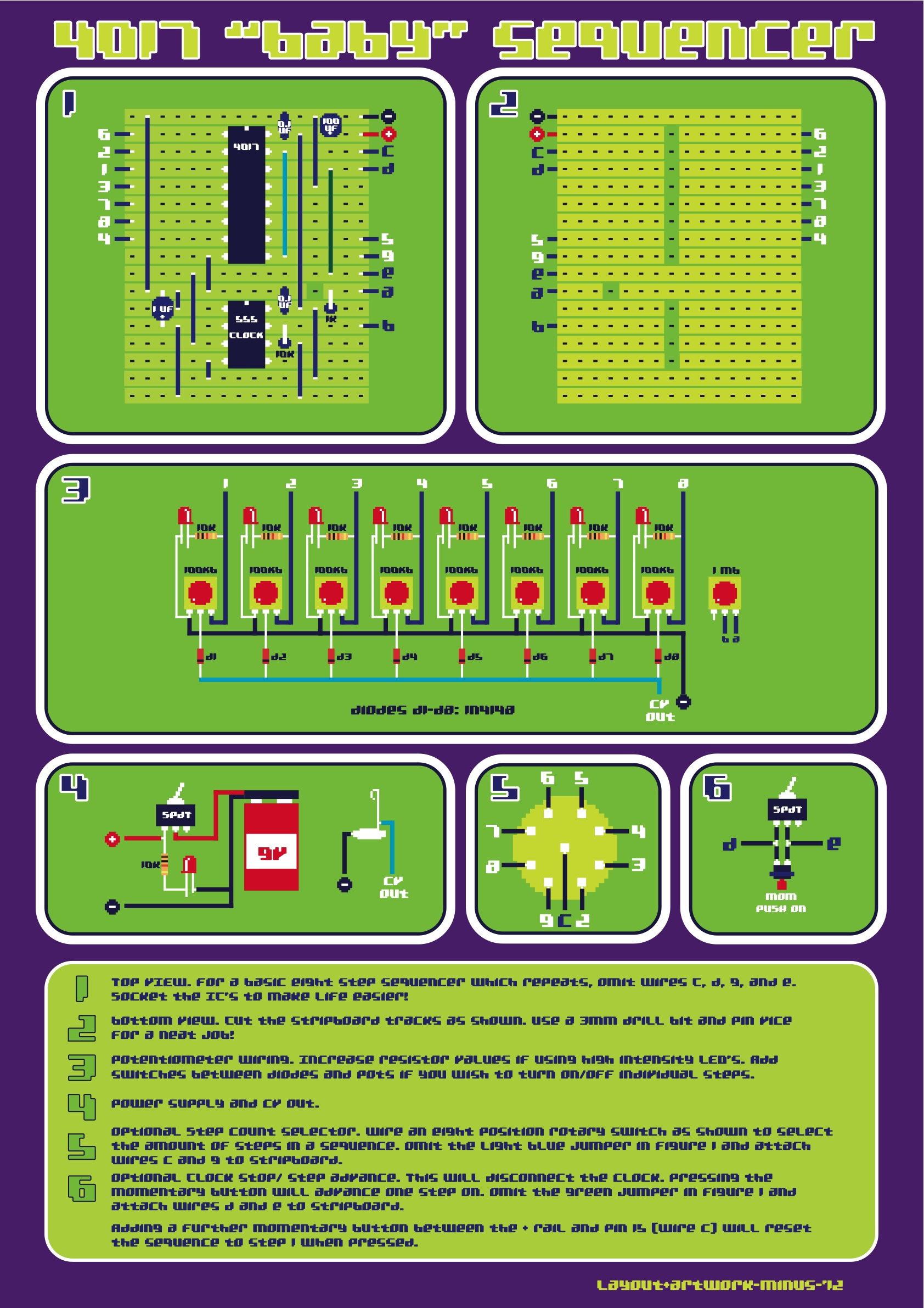 View Topic 4017 Baby Sequencer Stripboard Circuit Board Artwork And Breadboard Layout V1