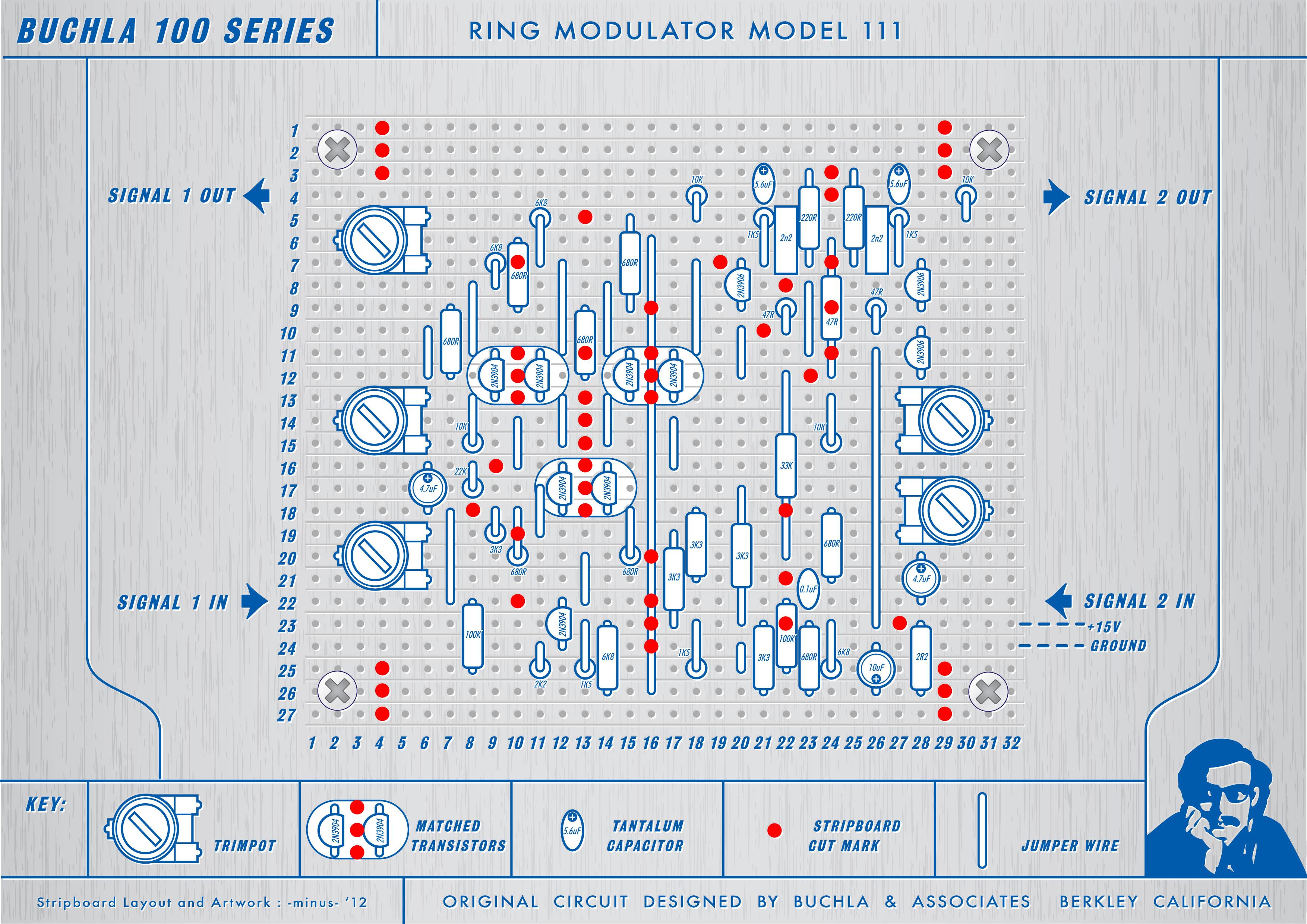 View Topic Buchla 111 Ring Modulator Stripboard Circuit Board Artwork And Breadboard Layout V2