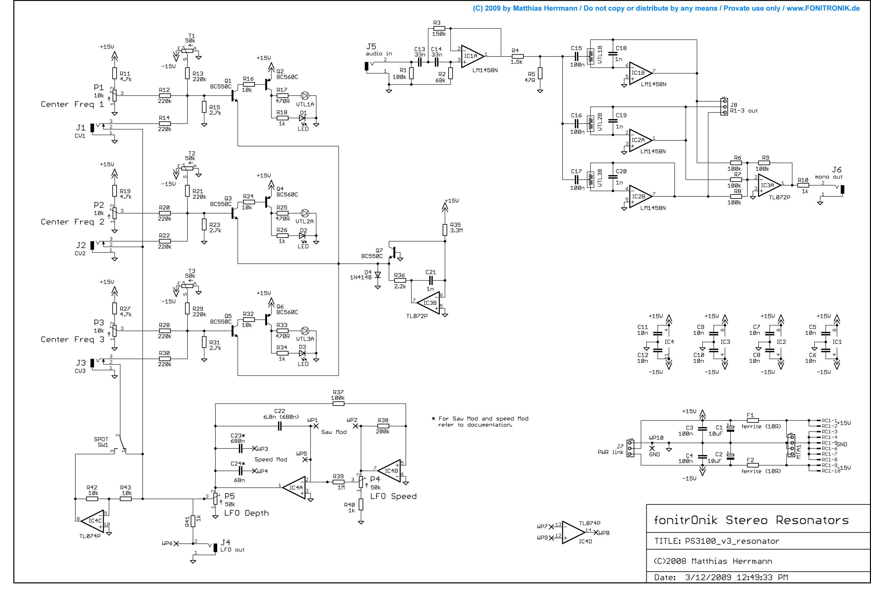 electro-music com wiki | Schematics / Korg PS 3100 Resonator
